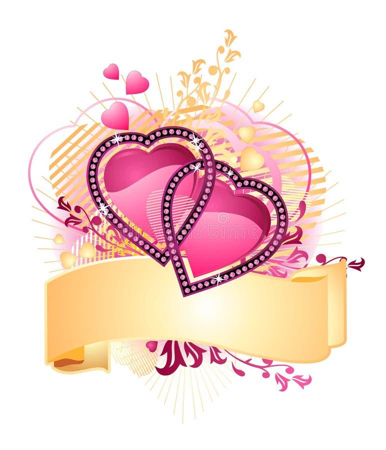 Ame corações/com bandeira/Valentim/vetor ilustração royalty free