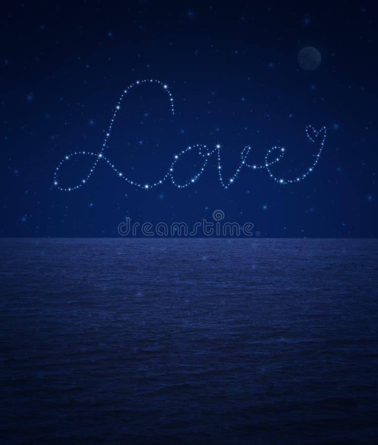Ame el corazón de las estrellas brillantes hermosas en el cielo de la fantasía libre illustration