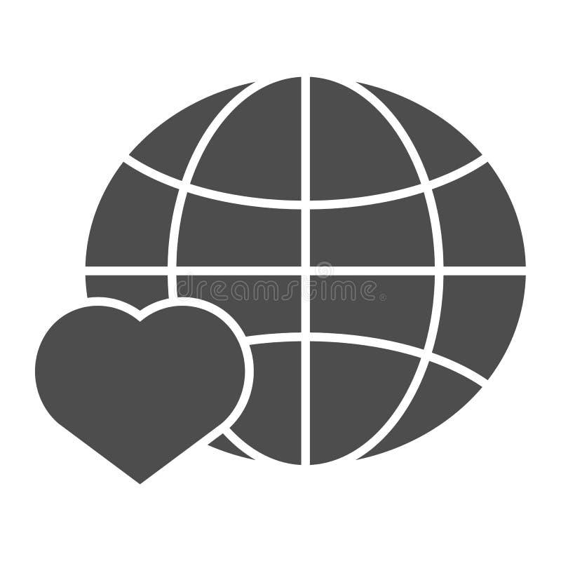 Ame el icono sólido del mundo Planeta con el ejemplo del vector del coraz?n aislado en blanco Diseño global del estilo del glyph, stock de ilustración