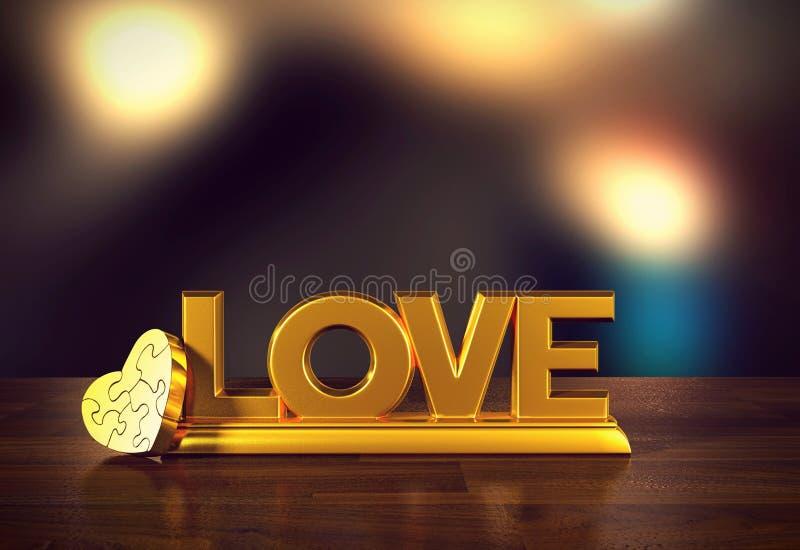 Ame el mensaje con el rompecabezas del corazón y empañe el fondo para el día del ` s de la tarjeta del día de San Valentín libre illustration