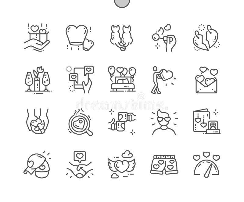 Ame el pixel Bien-hecho a mano que el vector perfecto alinea ligeramente la rejilla 2x de los iconos 30 para los gráficos y Apps  stock de ilustración