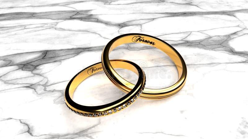 Ame eternalmente, para sempre junto, dois anéis dourados ilustração stock