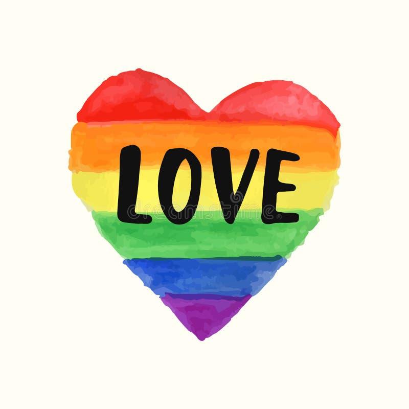 Ame a forma do coração do espectro do arco-íris do cartaz do orgulho alegre, rotulação da escova ilustração do vetor