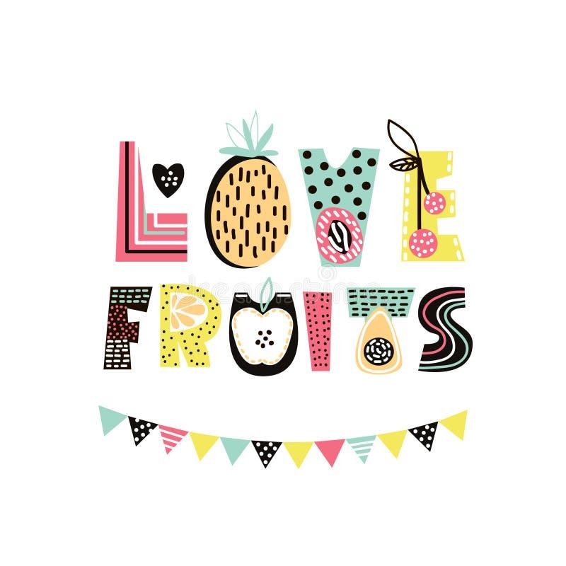 Ame frutos text com mão bonito fruto tirado do verão Banana, maçã, melancia, abacaxi, morango isolada Cópia do t-shirt das crianç ilustração do vetor