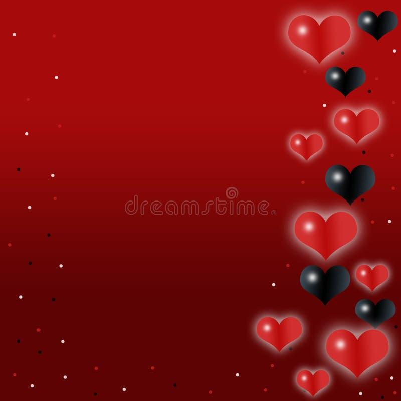 Ame, fundo romântico, vermelho com corações bonitos ilustração royalty free