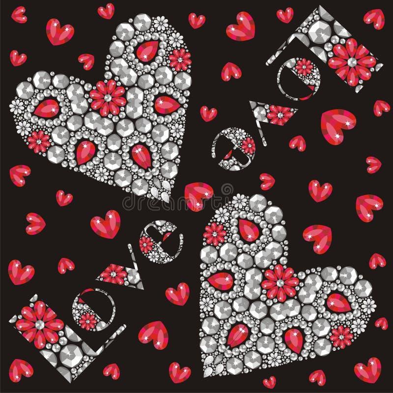 Ame a inscrição bonita e o coração vermelho e de prata de cristais de brilho, felicitações no dia de Valentim ilustração royalty free
