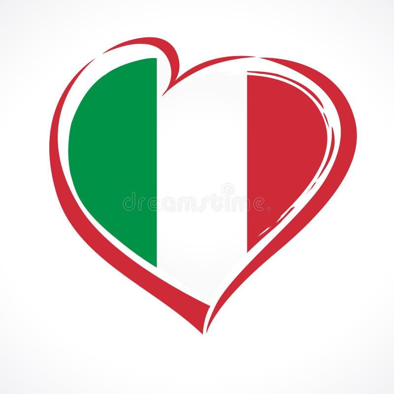 Ame Itália, bandeira nacional do emblema do coração colorida ilustração stock