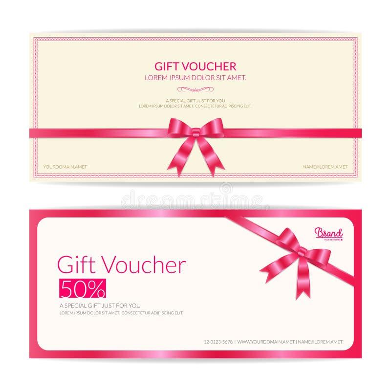 Ame la cupón t del chèque-cadeaux, del vale, del carte cadeaux o del efectivo del tema ilustración del vector