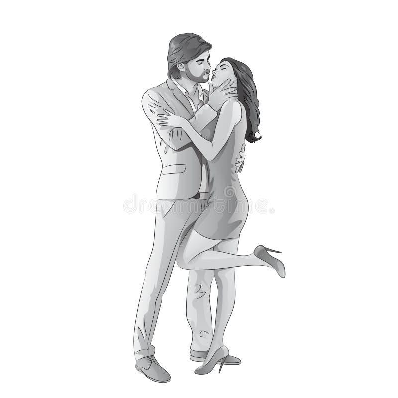 Ame la fecha que se besa romántica de los pares, hombres de la moda y stock de ilustración