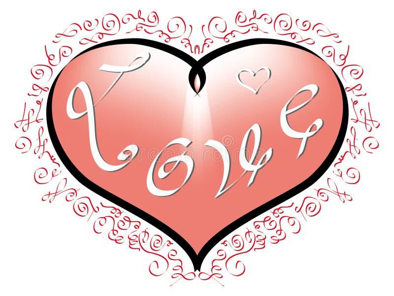 Ame la inscripción en corazón rosado y los ornamentos rojos en el fondo blanco stock de ilustración