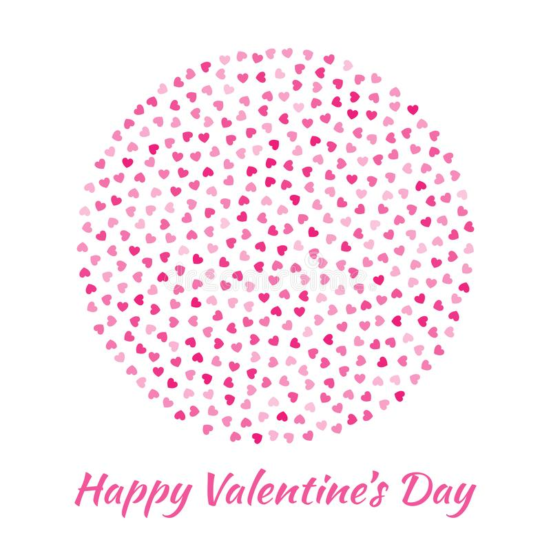 Ame la silueta del círculo del modelo rosado de los corazones aislado en el fondo blanco Diseño de tarjeta del día de tarjetas de libre illustration