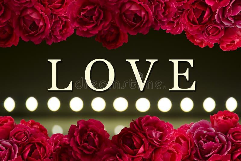 Ame la tarjeta con el arbusto del fondo de las flores de la rosa del rojo y el juego de la luz en las lámparas llevadas falta de  libre illustration