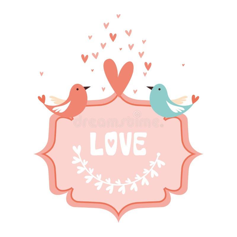 Ame la tarjeta de felicitación con la caligrafía linda, texto de las letras con hacen ilustración del vector