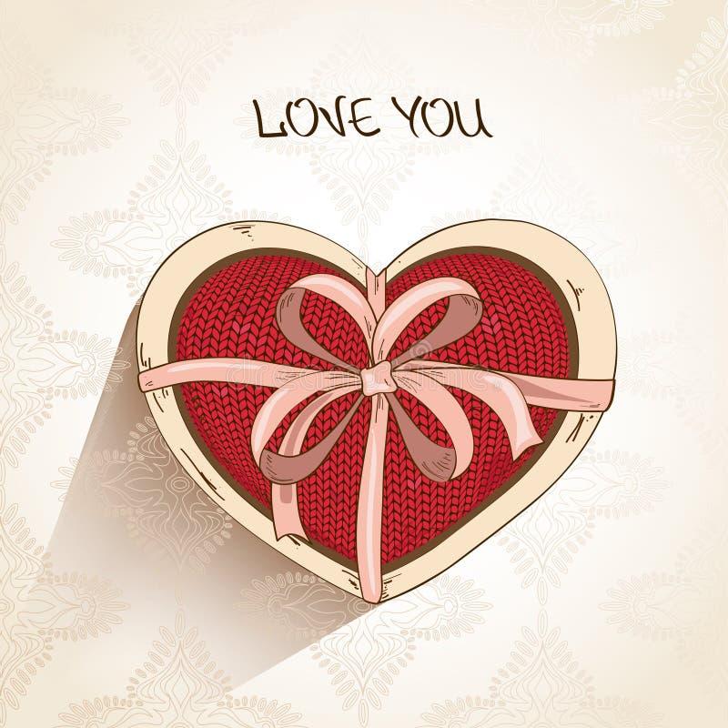 Ame la tarjeta de felicitación con la almohada del corazón en caja stock de ilustración