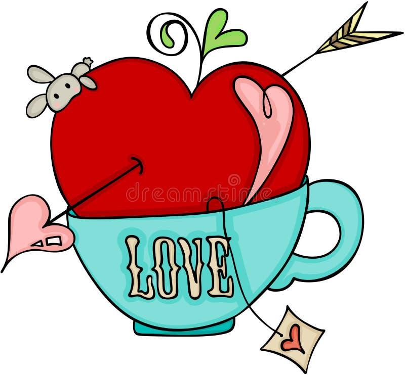 Ame a maçã vermelha do cupido em um copo do chá ilustração stock