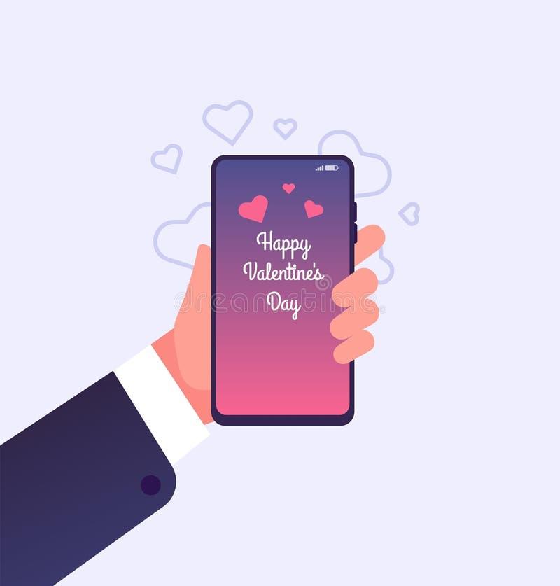 Ame a mensagem Smartphone da terra arrendada da mão com felicitações felizes do dia de Valentim na tela Valentine Day Vetora Card ilustração stock