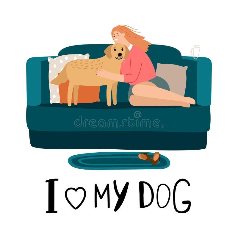 Ame meu cartão do cão ilustração do vetor