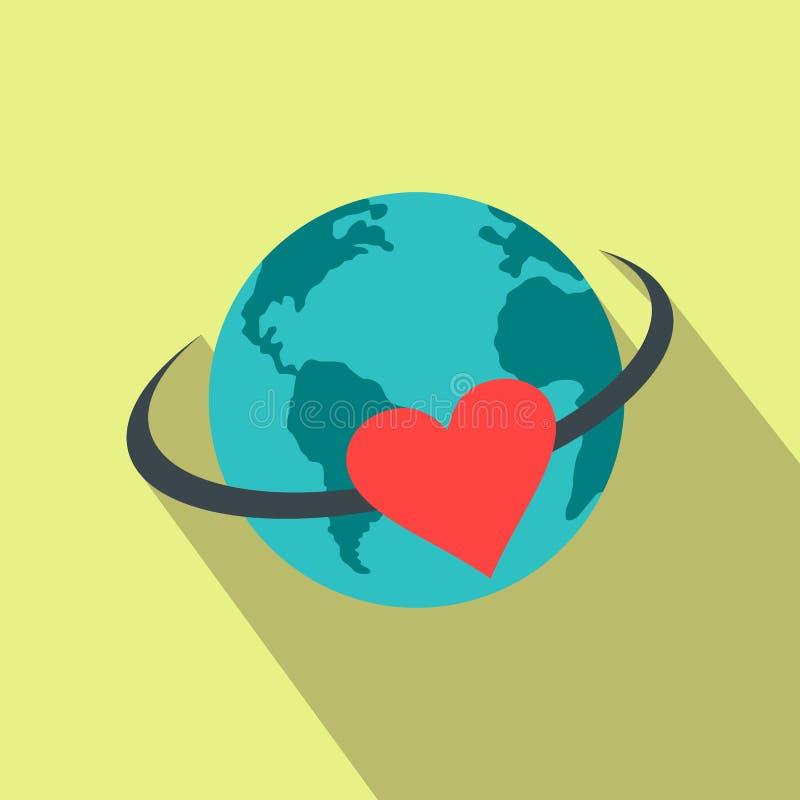 Ame o ícone liso da terra ilustração royalty free