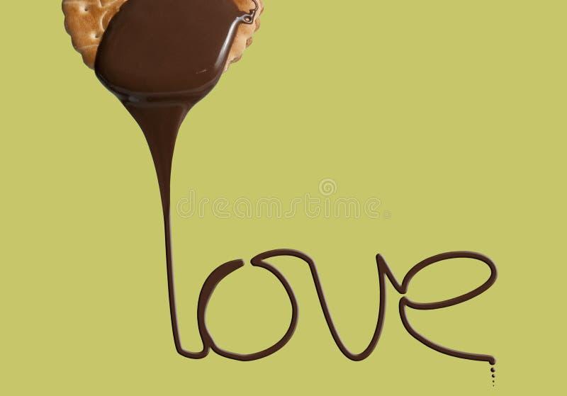 Ame o bolinho do chocolate imagem de stock