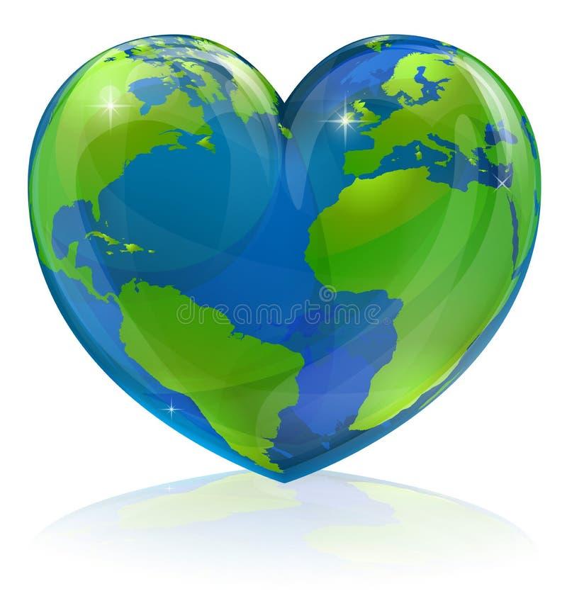 Ame o conceito do coração do mundo ilustração royalty free
