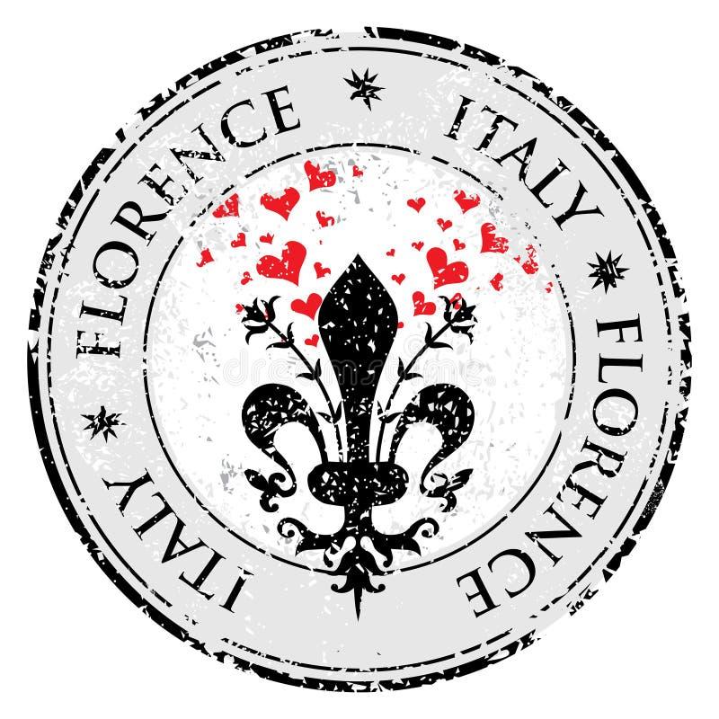 Ame o coração à flor de lis de Florença, carimbo de borracha do grunge do destino do curso com símbolo de Florença, Itália para d ilustração stock