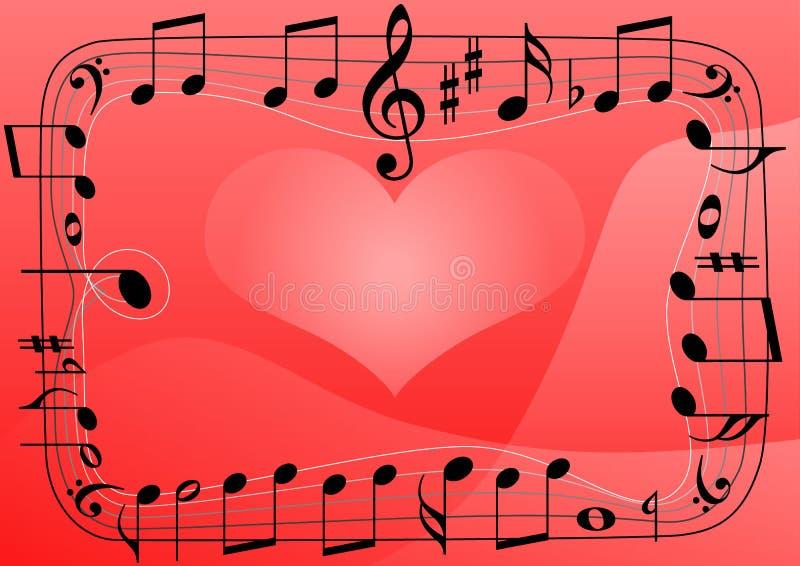 Ame o coração da música, fundo dos símbolos das notas musicais ilustração stock