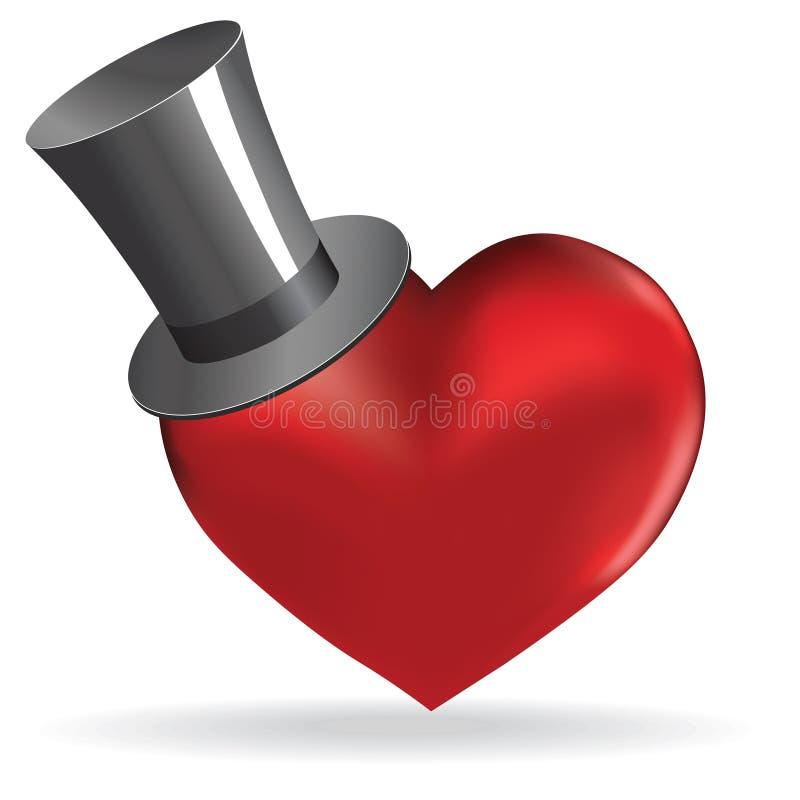 Ame o coração no fundo bonito do Valentim do chapéu. ilustração royalty free