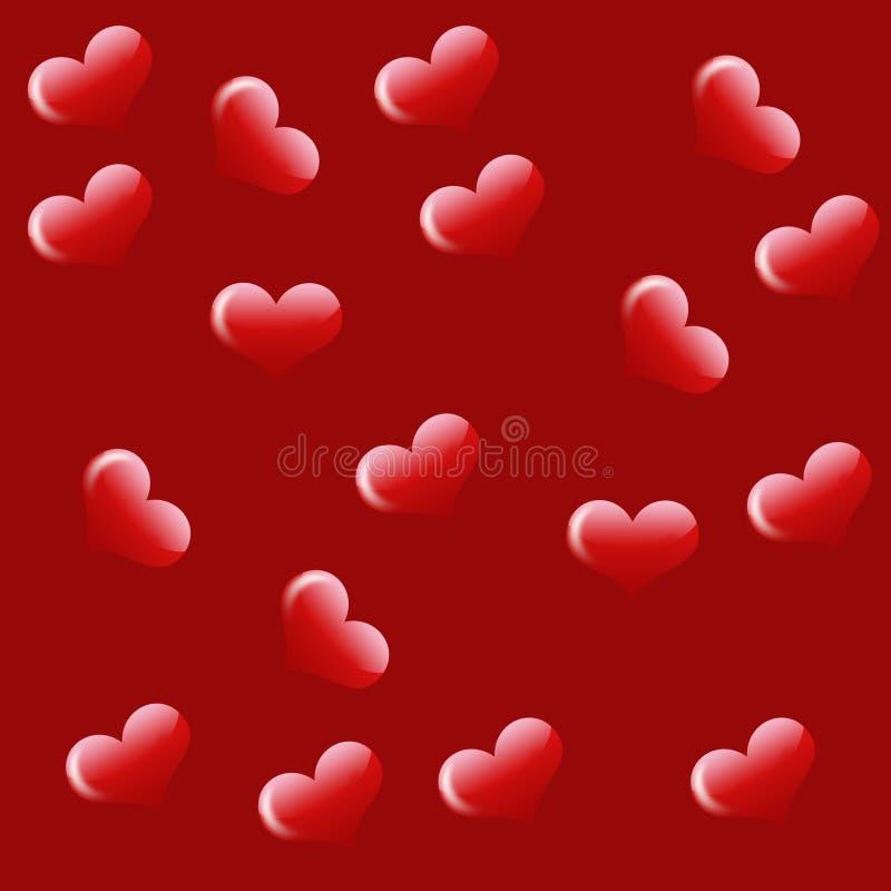 Ame o fundo com corações ilustração stock