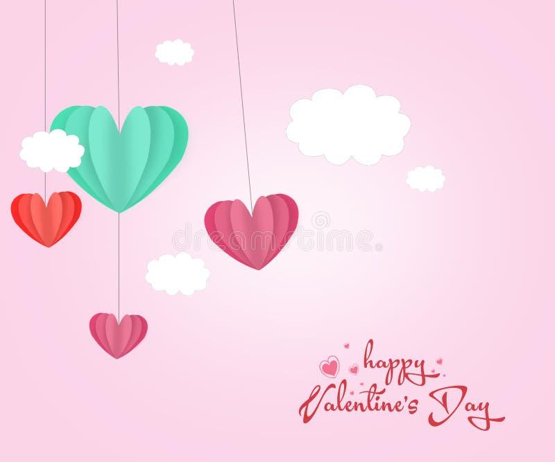 Ame o fundo do sumário do dia do ` s do Valentim do cartão do convite com amor do texto e nuvens, mini coração cortado papel Ilus ilustração do vetor