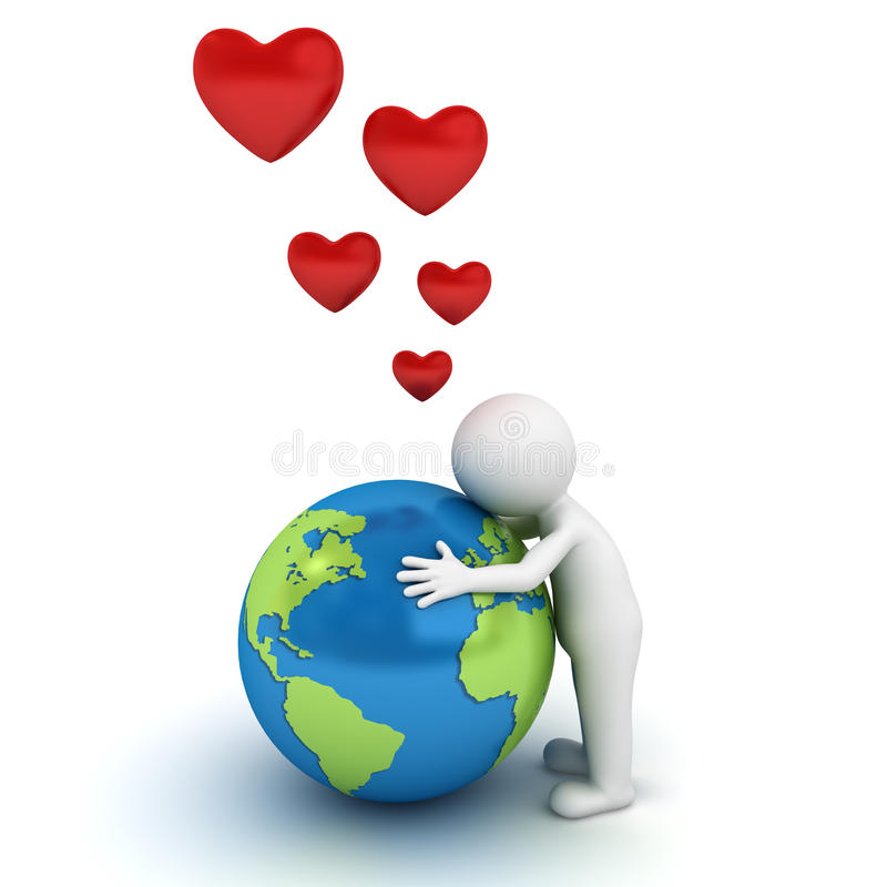 Ame o homem do conceito 3d da terra que abraça o globo azul ilustração stock