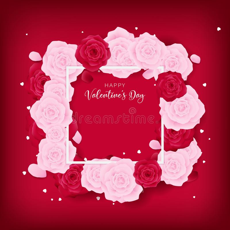 Ame o molde feliz dourado incluído molde do quadrado do dia do ` s do Valentim do amor da opinião do texttop do dia do ` s do Val ilustração royalty free
