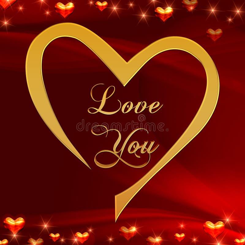 Ame-o no coração dourado no vermelho ilustração do vetor