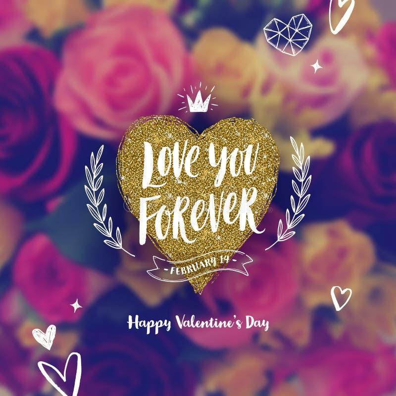 Ame-o para sempre - cartão do dia de Valentim ilustração do vetor