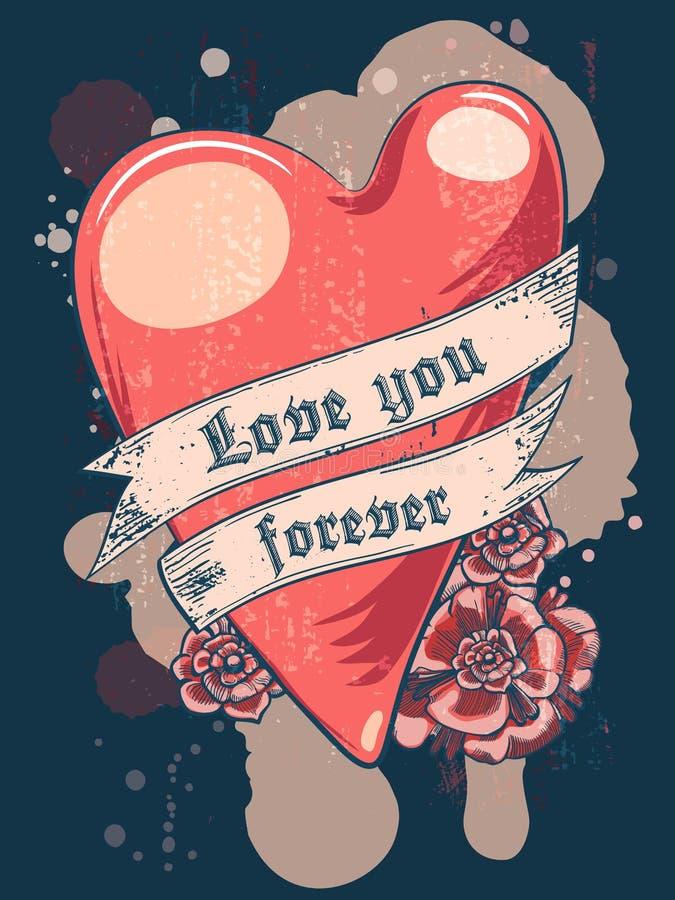 Ame-o para sempre Coração com fita Projeto do t-shirt ou do cartaz ilustração royalty free
