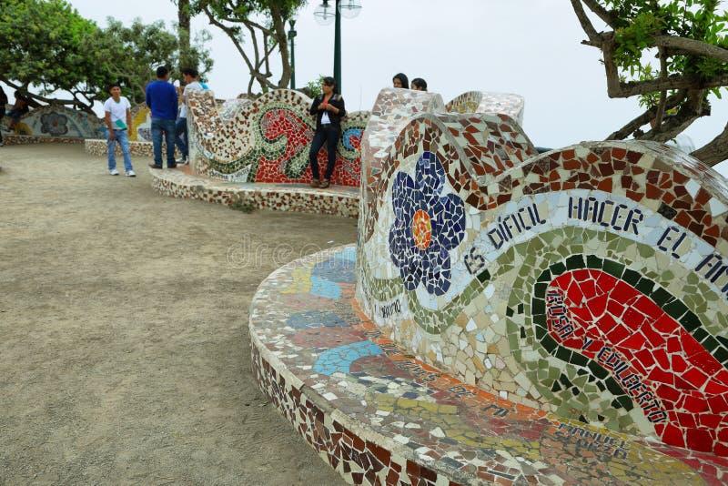 Ame o parque em Miraflores, Lima, Peru imagens de stock