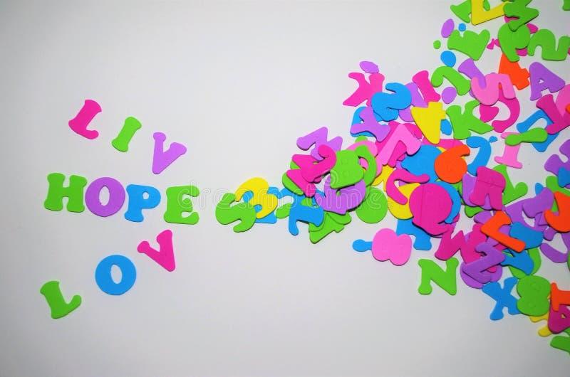 Ame o quadro para escrever um espaço de mensagem para escrever Live Hope fotos de stock royalty free
