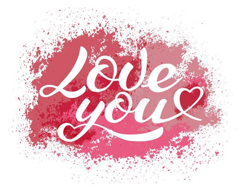Ame-o que rotula, inscrição caligráfica do vetor fotos de stock royalty free