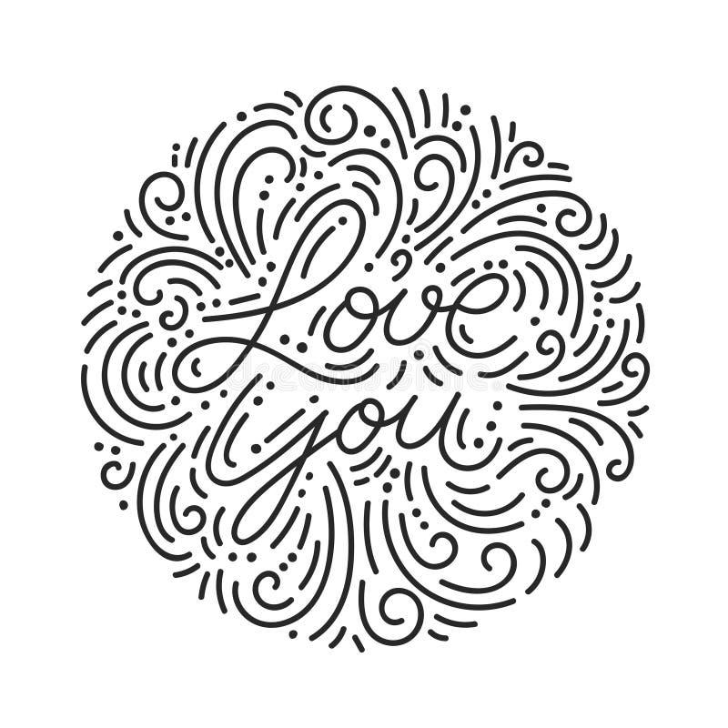 Ame-o rotulação preta tirada mão com garatujas ilustração stock