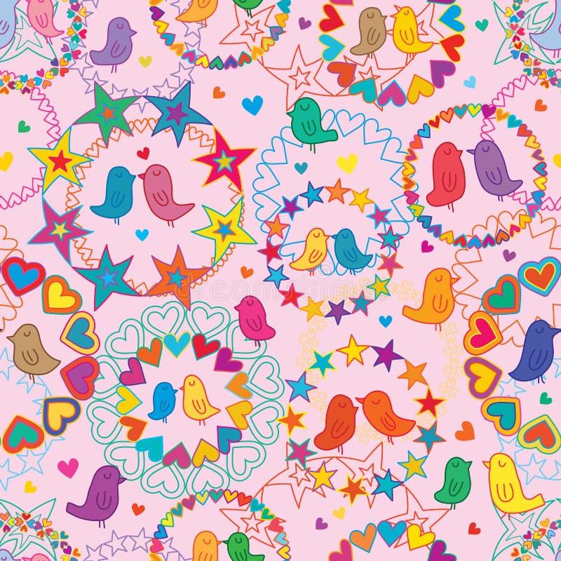 Ame o teste padrão sem emenda colorido da estrela do amor da festão do pássaro ilustração stock