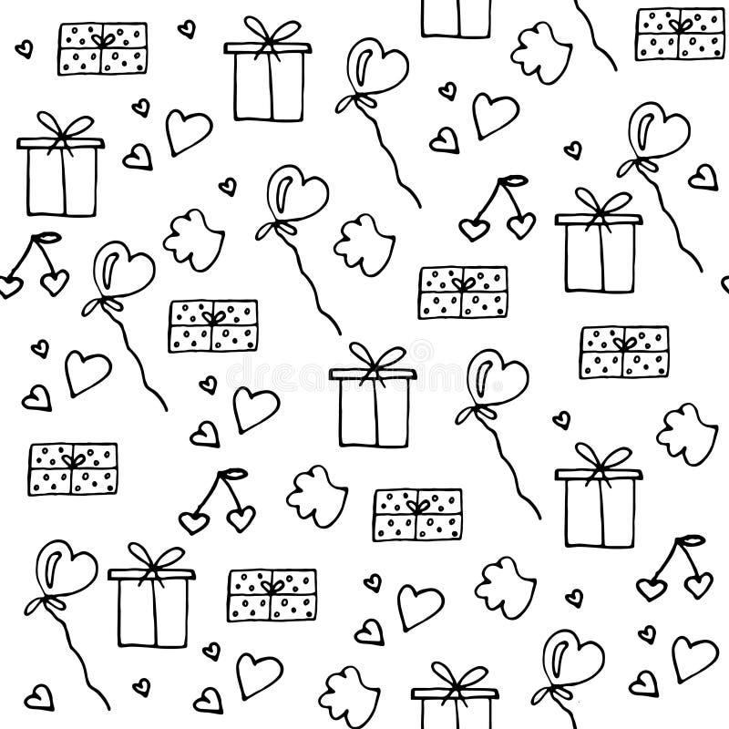 Ame o teste padrão sem emenda dos símbolos Dia feliz do Valentim s ilustração stock