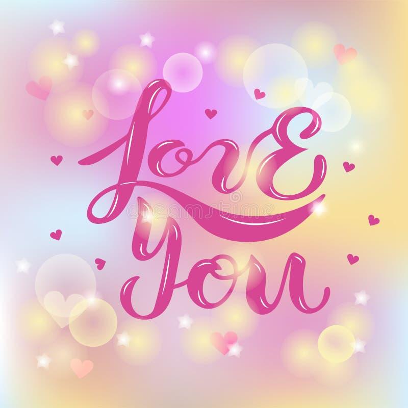 Ame-o texto isolado no fundo borrado A rotulação escrita à mão ama-o como o logotipo, crachá, ícone, remendo, etiqueta Molde para ilustração royalty free