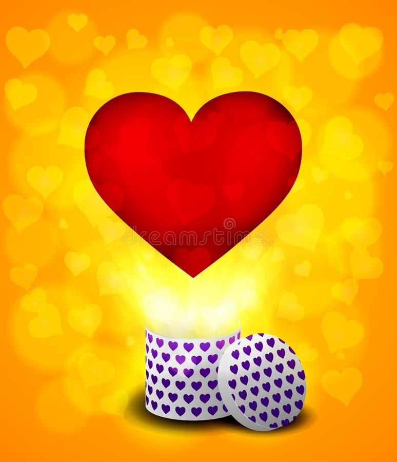Ame o voo do coração da caixa atual no fundo do bokeh ilustração stock