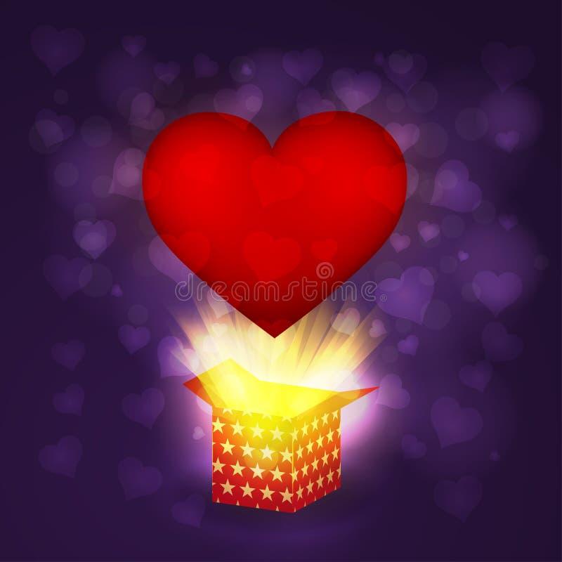 Ame o voo do coração da caixa atual no fundo do bokeh ilustração do vetor