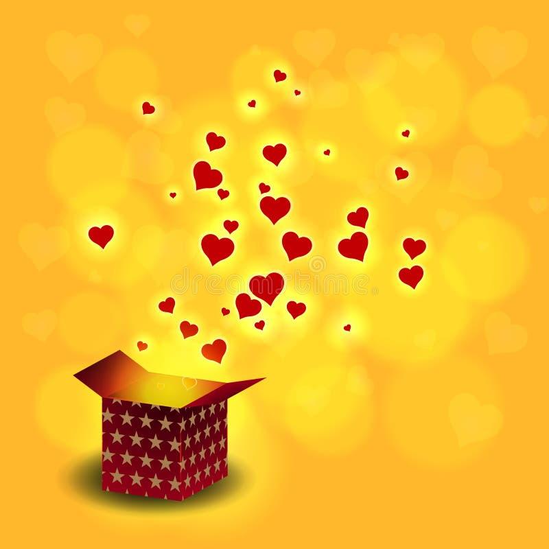 Ame o voo do coração da caixa atual no fundo do bokeh ilustração royalty free
