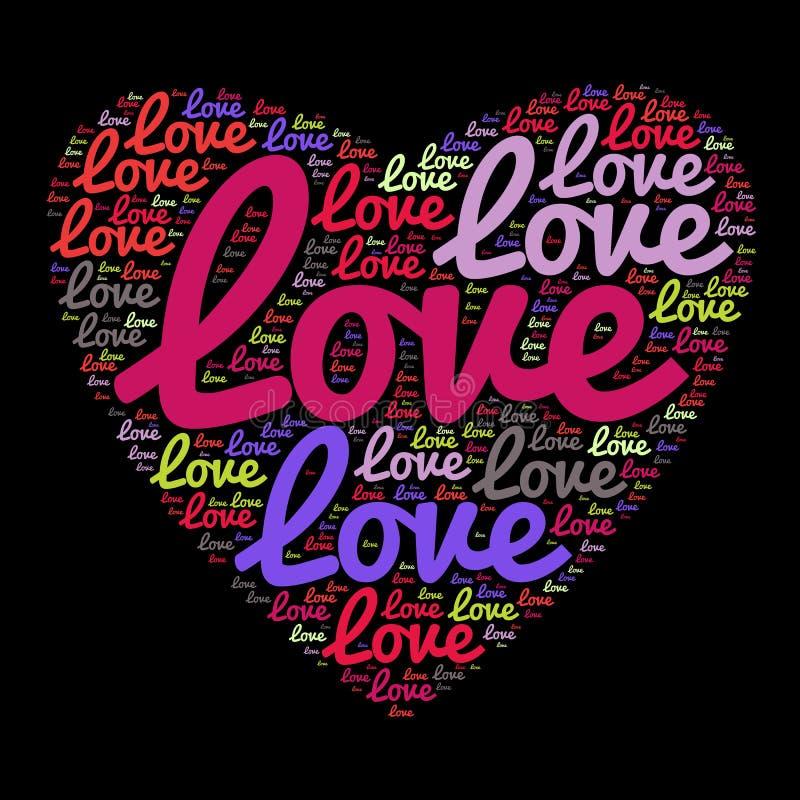 Ame palavras nublam-se na forma de um coração ilustração royalty free