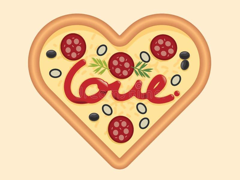 Ame para o projeto de conceito da forma do coração da pizza para o dia de Valentim Vec ilustração royalty free