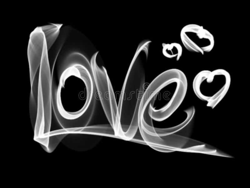 Ame a rotulação isolada e o coração da palavra escritos com chama ou fumo do fogo no fundo preto ilustração stock