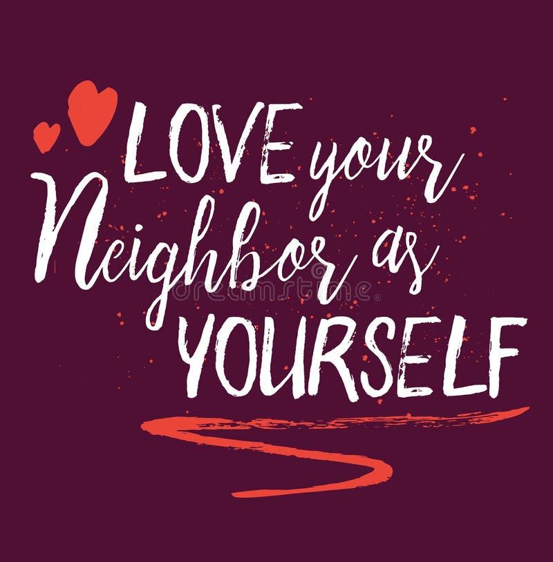 Ame a su vecino como sí mismo stock de ilustración