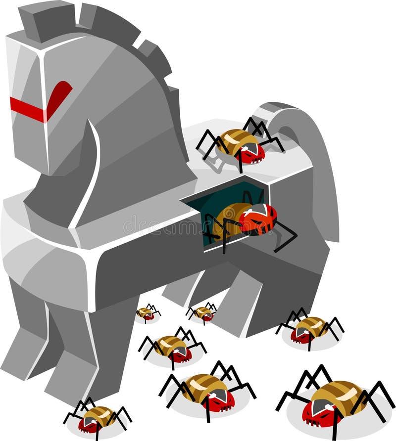 Ameaça do vírus Trojan ilustração royalty free