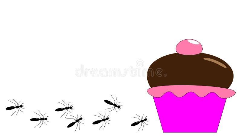 Ameisen, die in Richtung zu einem köstlichen Kuchen kriechen stock abbildung
